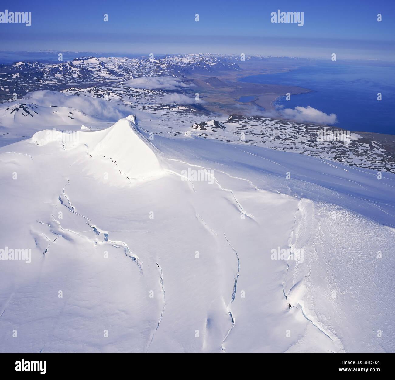 Glacier Snaefellsjokull, Péninsule de Snæfellsnes Photo Stock