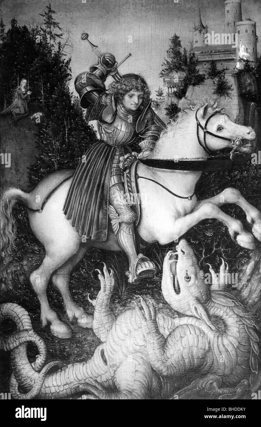 George, Saint, circa 303 +, martyr, saint Helper, demi-longueur, à cheval, se battre avec le dragon, après la peinture Banque D'Images
