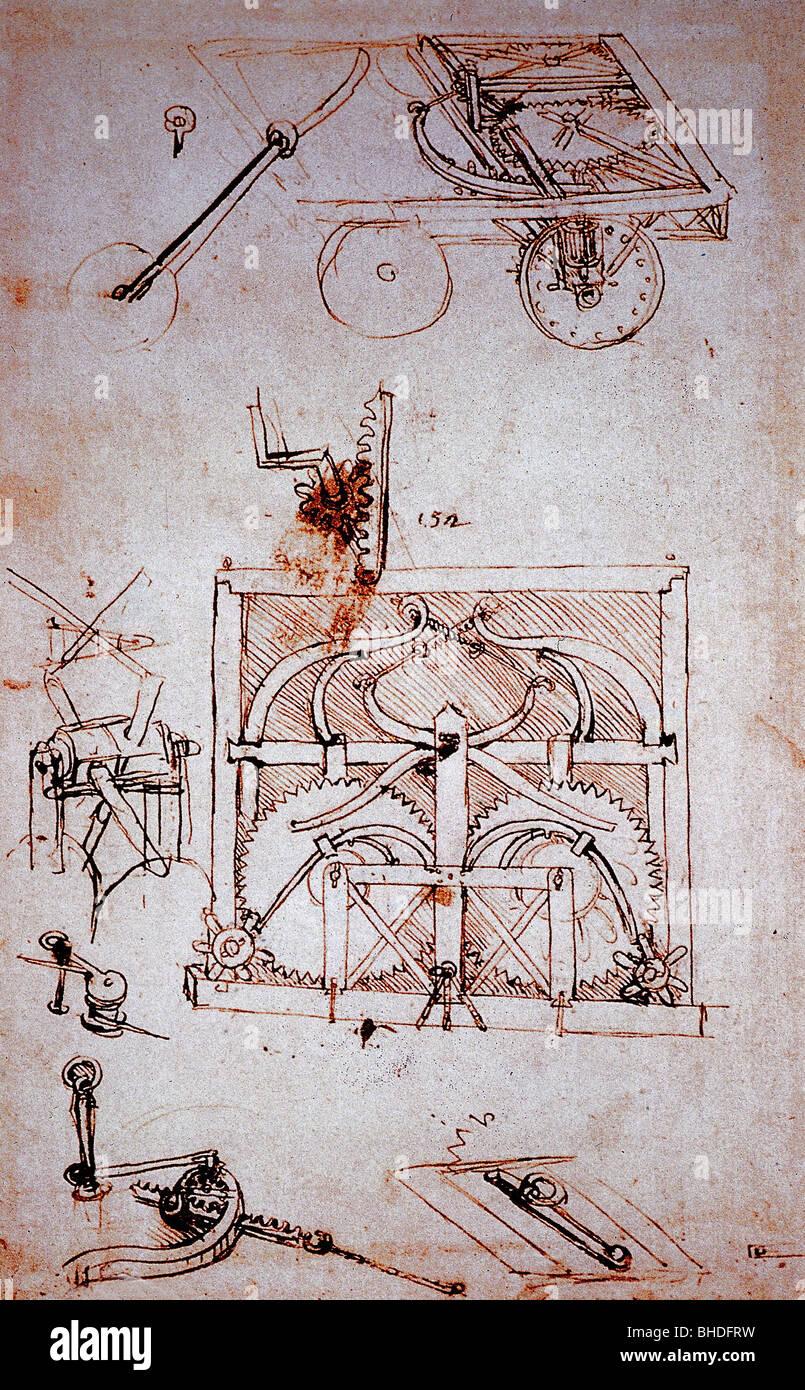 Leonardo da Vinci, 15.4.1452 - 2.5.1519, peintre italien, sculpteur, étude technique, concept d'automobile, vers 1478 - 1480, dessin au stylo, Banque D'Images