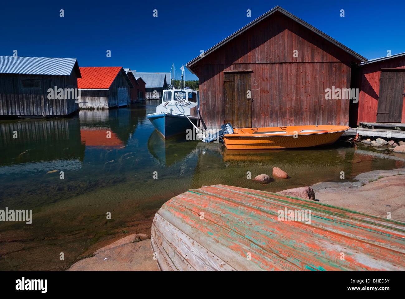 Des garages à bateaux, Alands Eckero Photo Stock