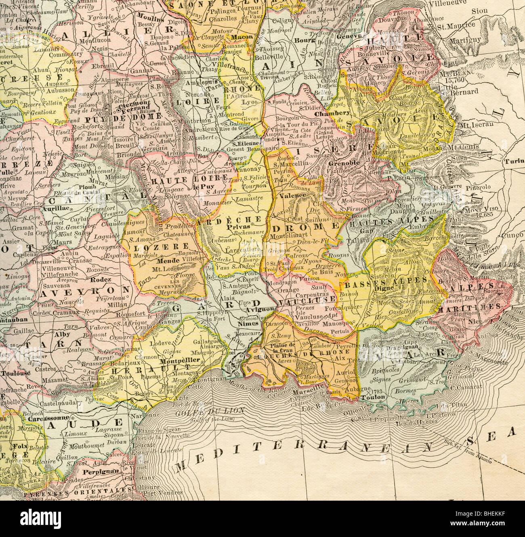 ancienne carte du sud est de la france partir de l 39 original 1884 manuel de g ographie banque. Black Bedroom Furniture Sets. Home Design Ideas