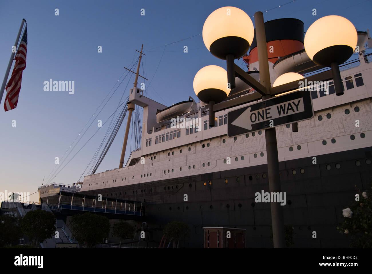 Le RMS Queen Mary à Long Beach, en Californie. Banque D'Images