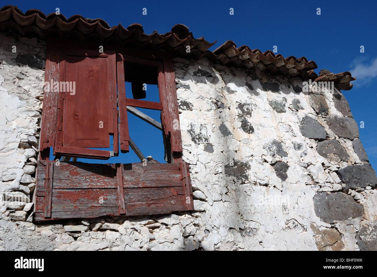 Maison en décomposition à Taganana, Tenerife, Canaries, Espagne Banque D'Images