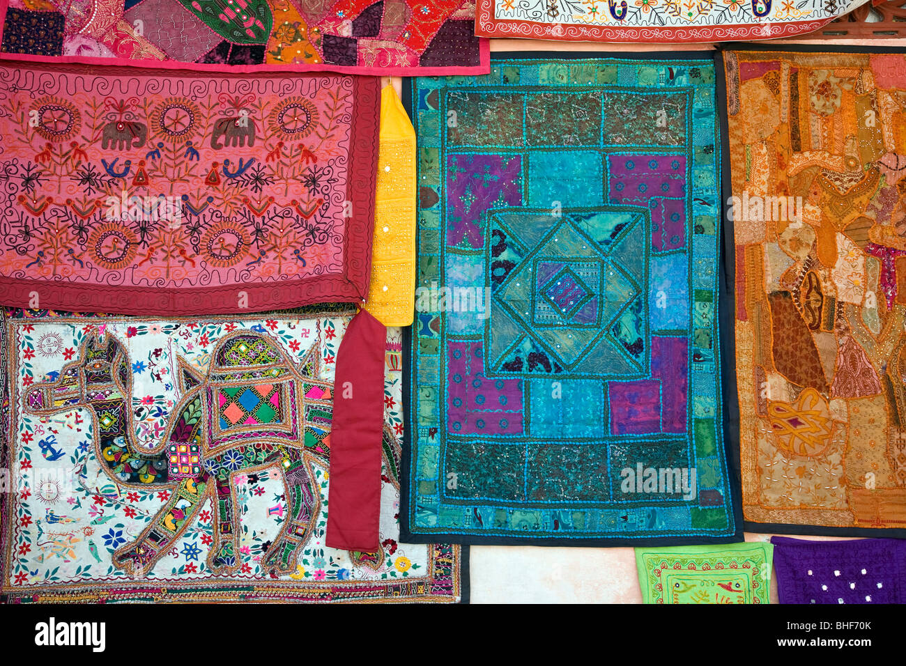 Patchwork textile. Bundi. Le Rajasthan. L'Inde Photo Stock