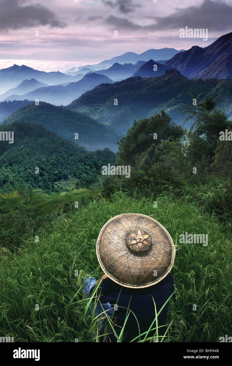 Riziculteur donnant sur les montagnes, Sagada, Montagnes, Cordillères Mountain Province, île de Luzon. Photo Stock