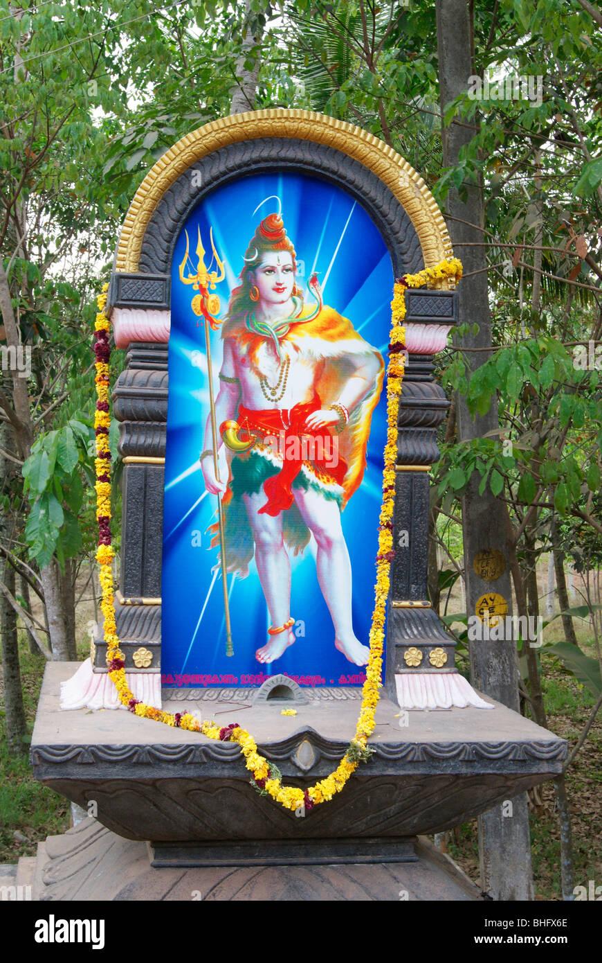 Temple de Shiva Dieu puissant dans Mandapamm Entrée Kerala Banque D'Images