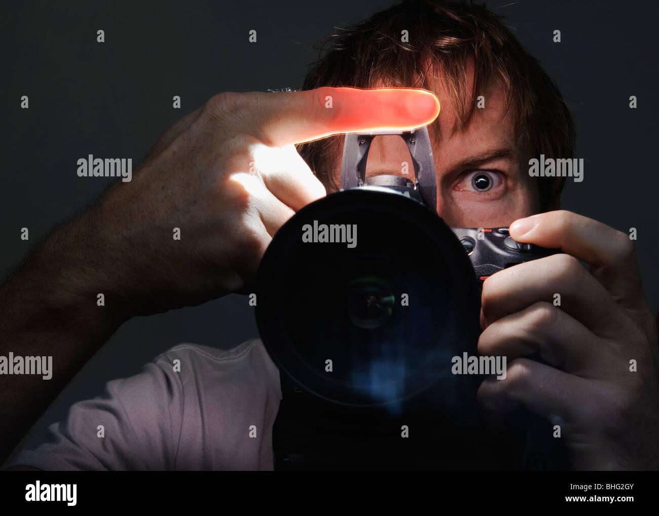 Autoportrait d'un homme Photo Stock