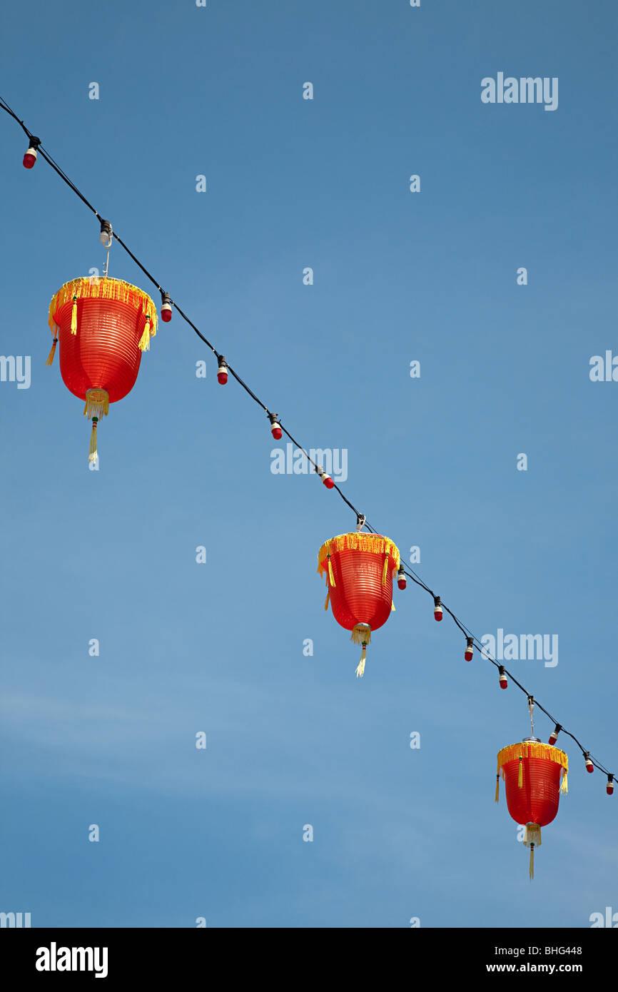 Lanternes à George Town Chinatown de Malaisie Photo Stock