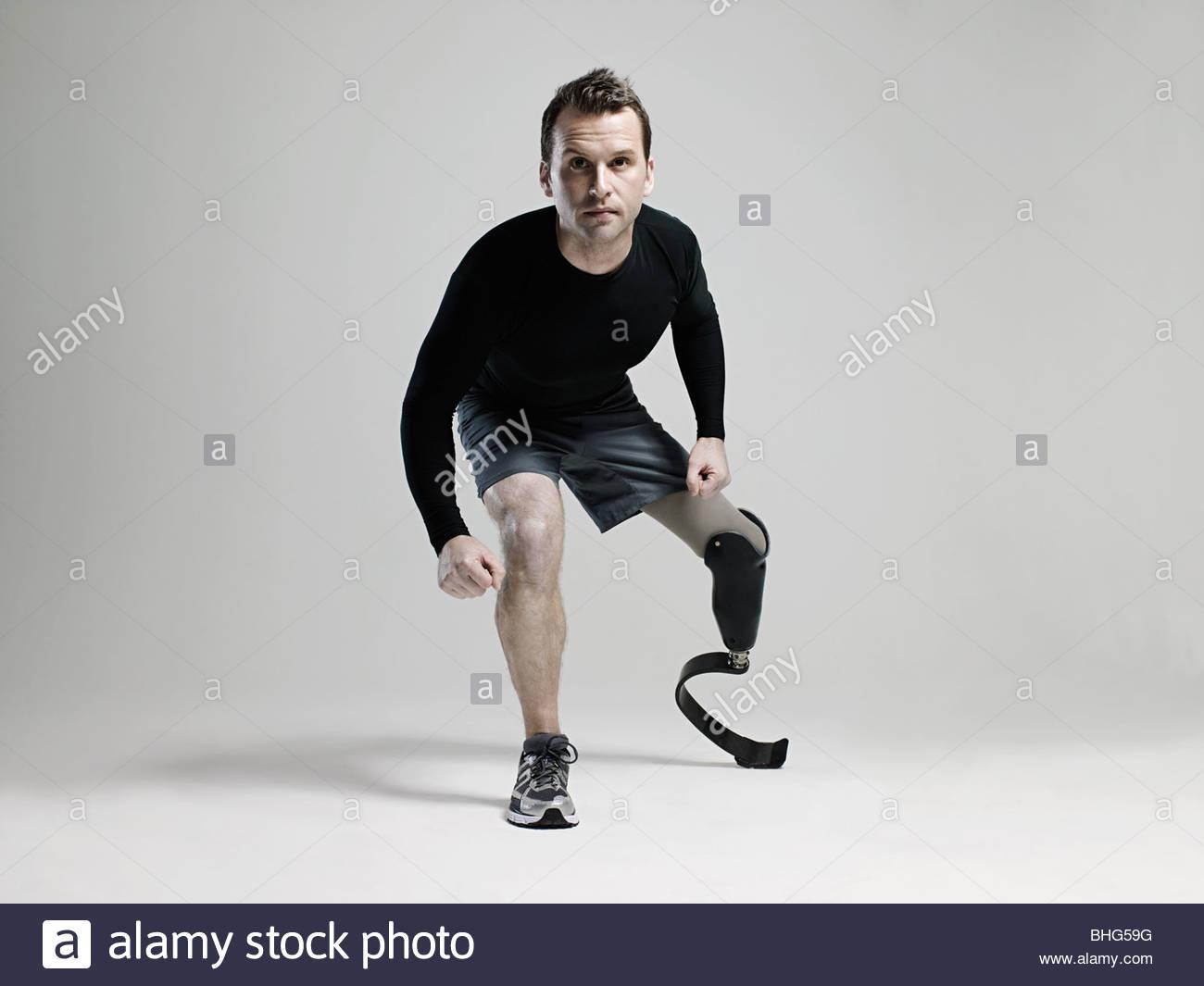 Prothèse de jambe avec l'athlète Photo Stock