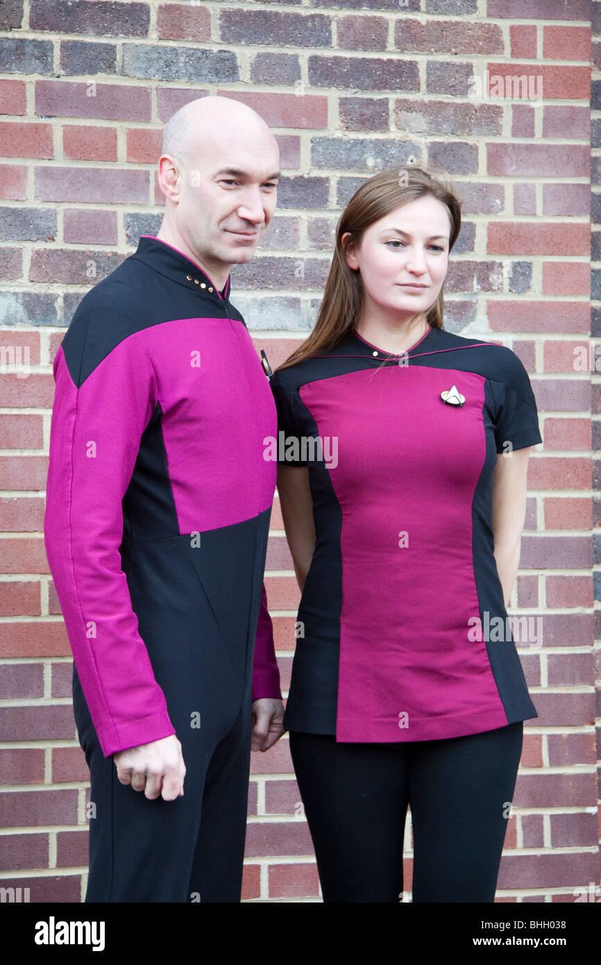 Fans de Star Trek à Londres pour le record du monde du plus grand nombre de gens habillés comme des personnages Photo Stock