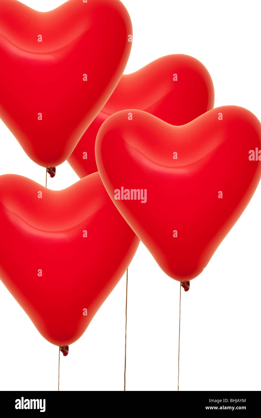 Ballons en forme de coeur rouge Photo Stock