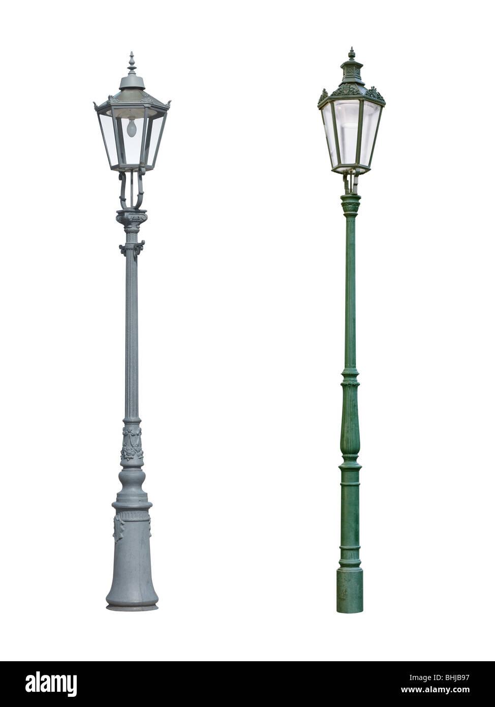 Street light lampadaire isolé sur fond blanc Banque D'Images