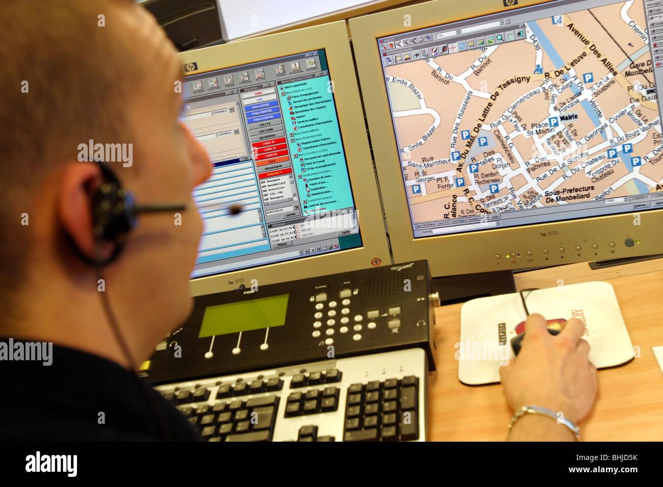 Cartographie numérique, CENTRE DE TRAITEMENT DES ALARMES, Besançon, Doubs (25) Photo Stock
