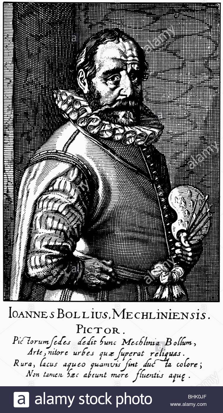 Bol, Hans, 1534 - 1593, peintre néerlandais, demi-longueur, gravure sur cuivre de 'Schilder-Boeck' Photo Stock