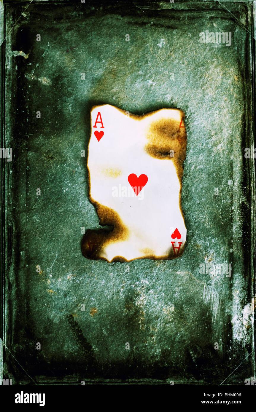 Ace des coeurs brûlés Photo Stock