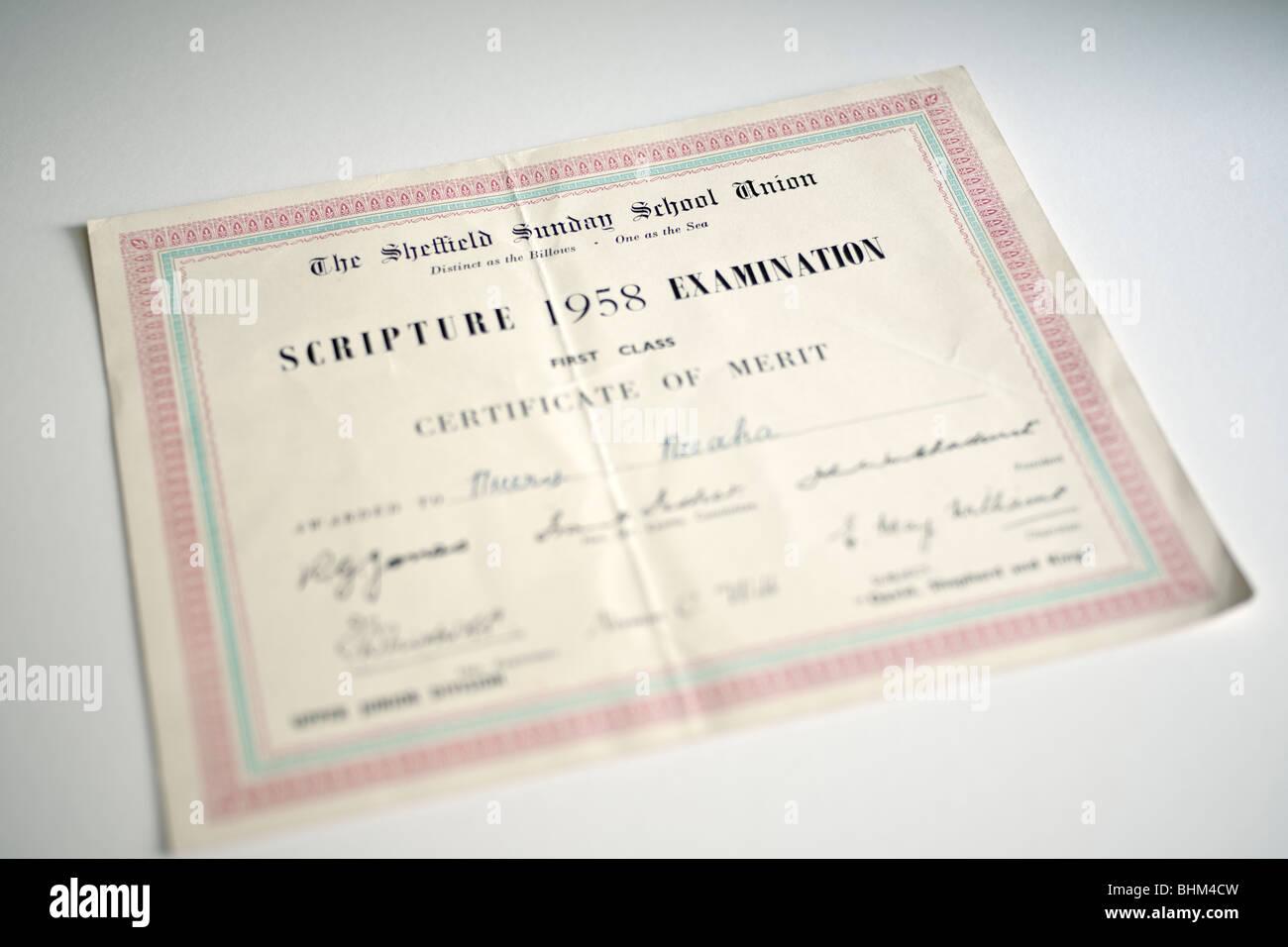 L'école du dimanche de Sheffield Union européenne Certificat d'examen du mérite de l'écriture Photo Stock