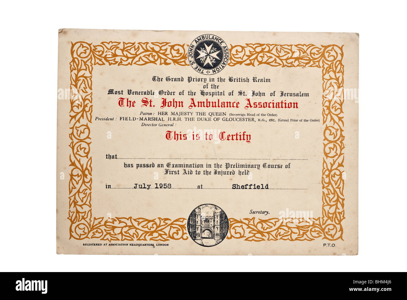 St John Ambulance Association certificat daté de juillet 1958 Photo Stock