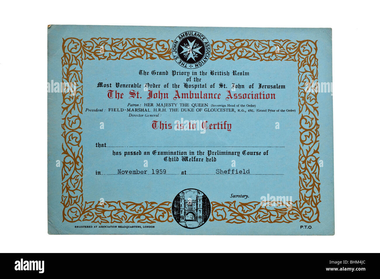 St John Ambulance Certificat de l'Association Novembre 1959 Photo Stock