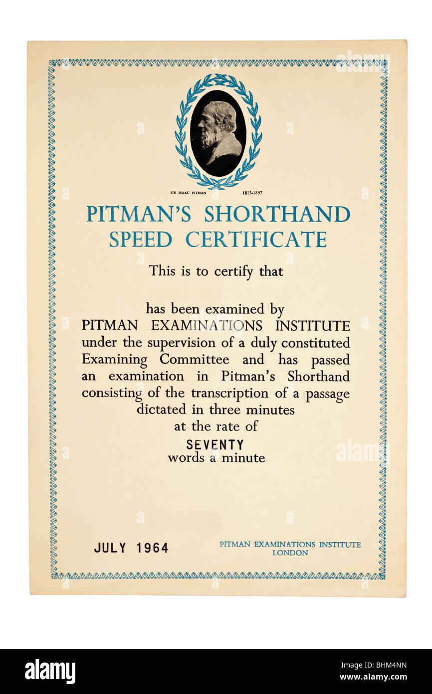 Examens Pitman's institute certificat pour un débit de 70 mots par minute en date du juillet 1964 Photo Stock