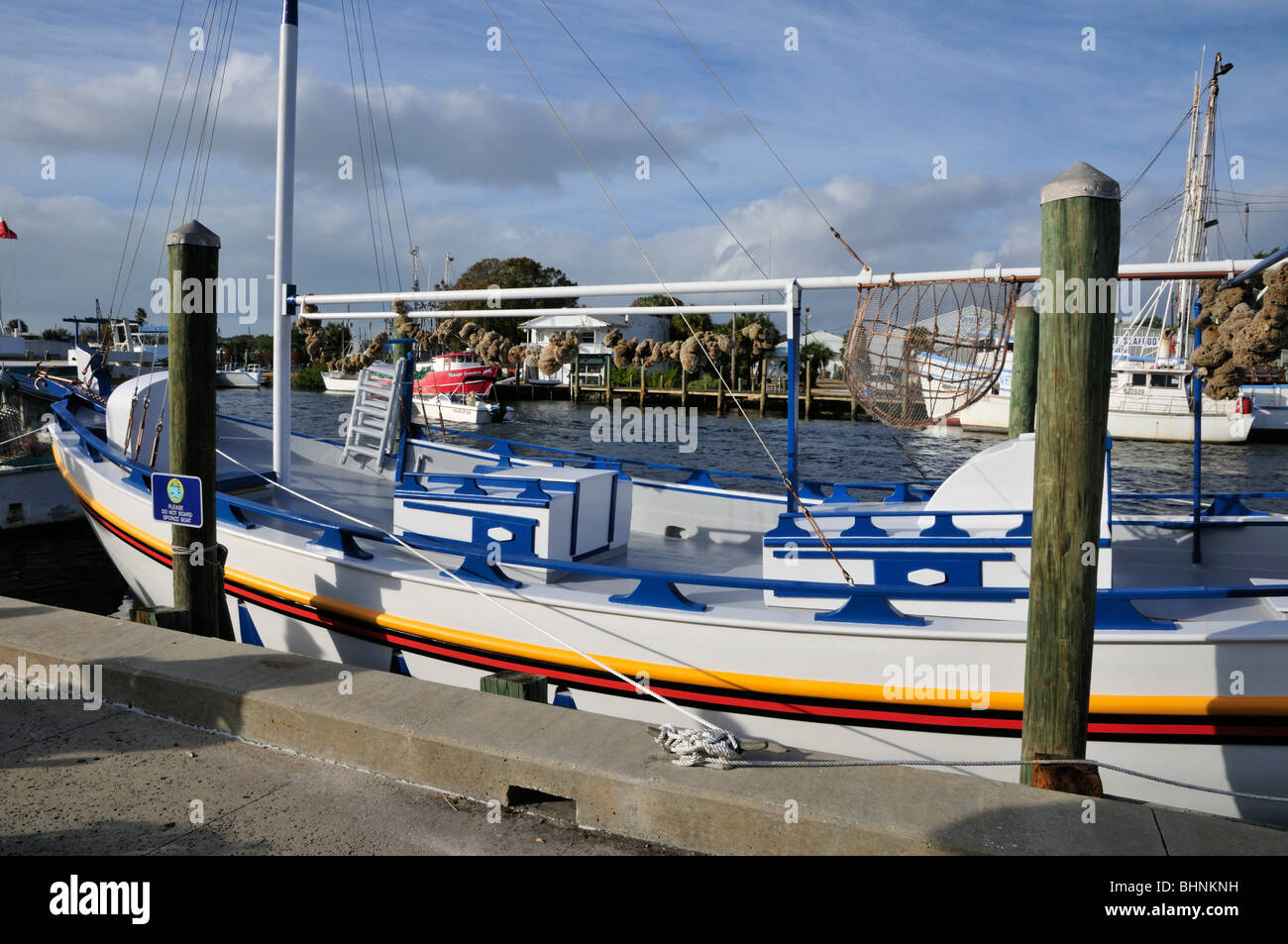"""L'éponge bateau """"Tarpon Springs', dont l'ancien nom """"Louis Pappas', amarré au Photo Stock"""
