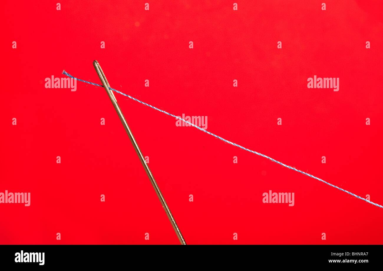 Aiguille et thread Photo Stock