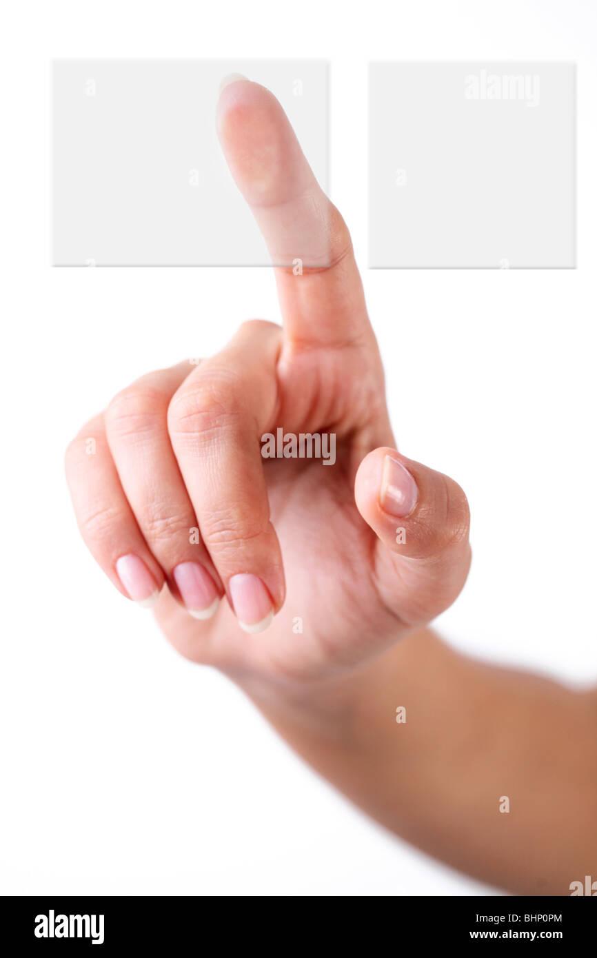 Le choix d'un bouton à la main Photo Stock