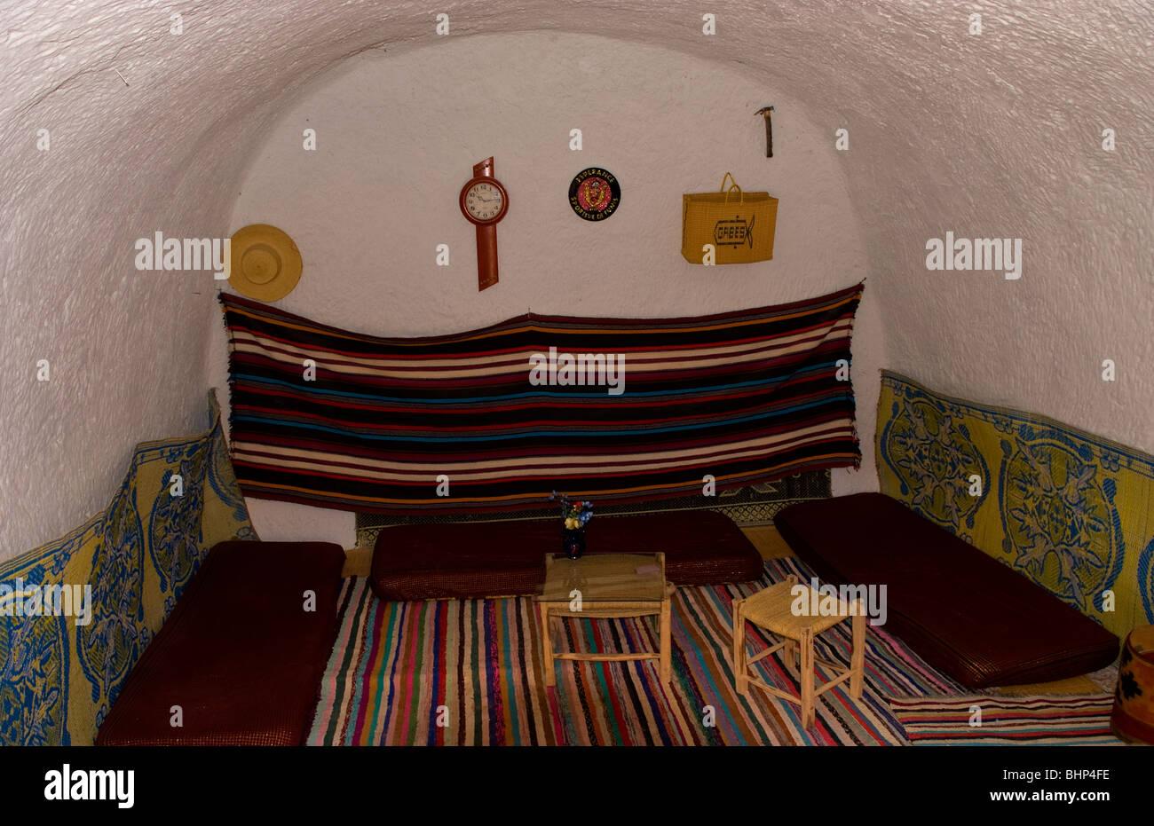 Dans Chambre à Coucher Style Berbère Matmata Tunisie Village Cave House En  Afrique De Montagne