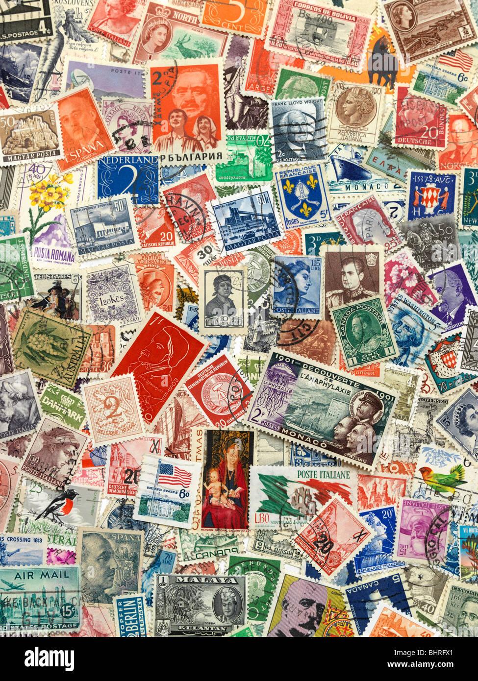 Les timbres postaux du monde, collection vie encore Banque D'Images