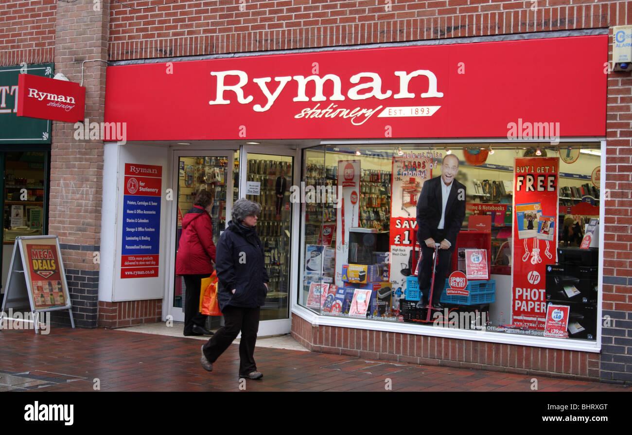 Un magasin de papeterie Ryman dans une ville du Royaume-Uni. Photo Stock