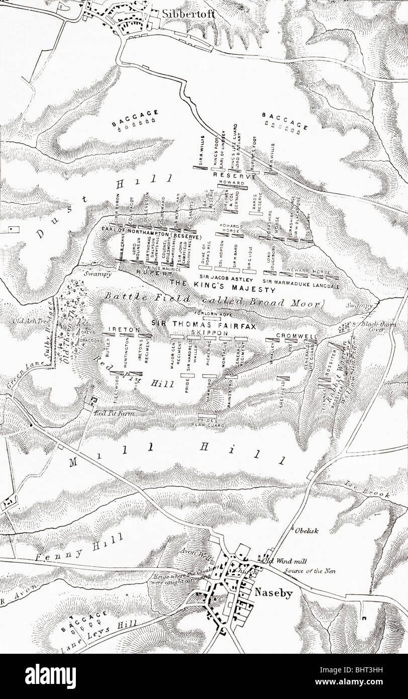 Plan du site de la bataille de Naseby, 1645. Photo Stock