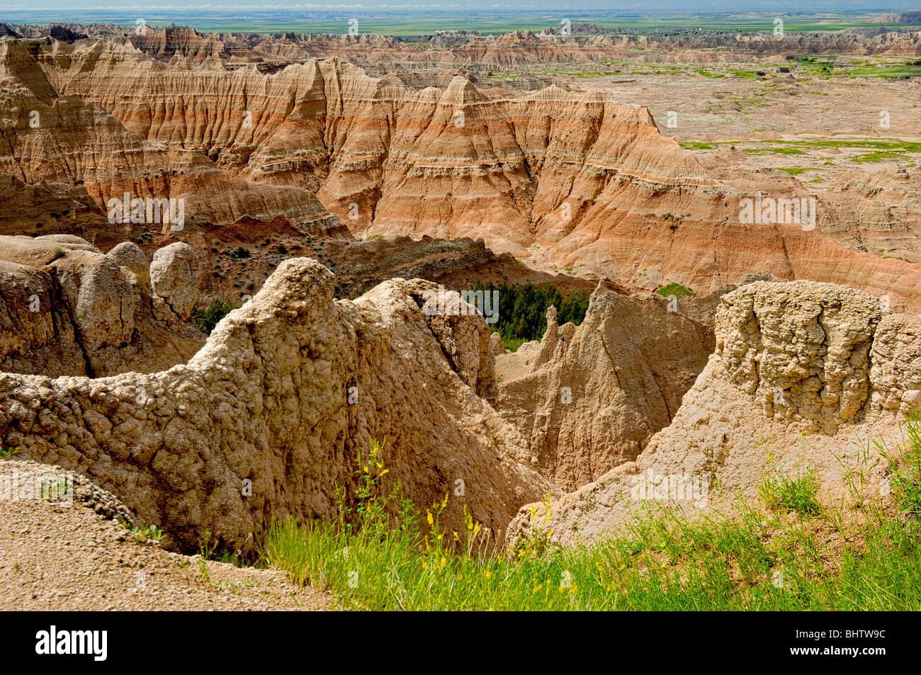 Paysages typiques des Badlands à Badlands National Park, près de mur, dans le Dakota du Sud, USA Photo Stock