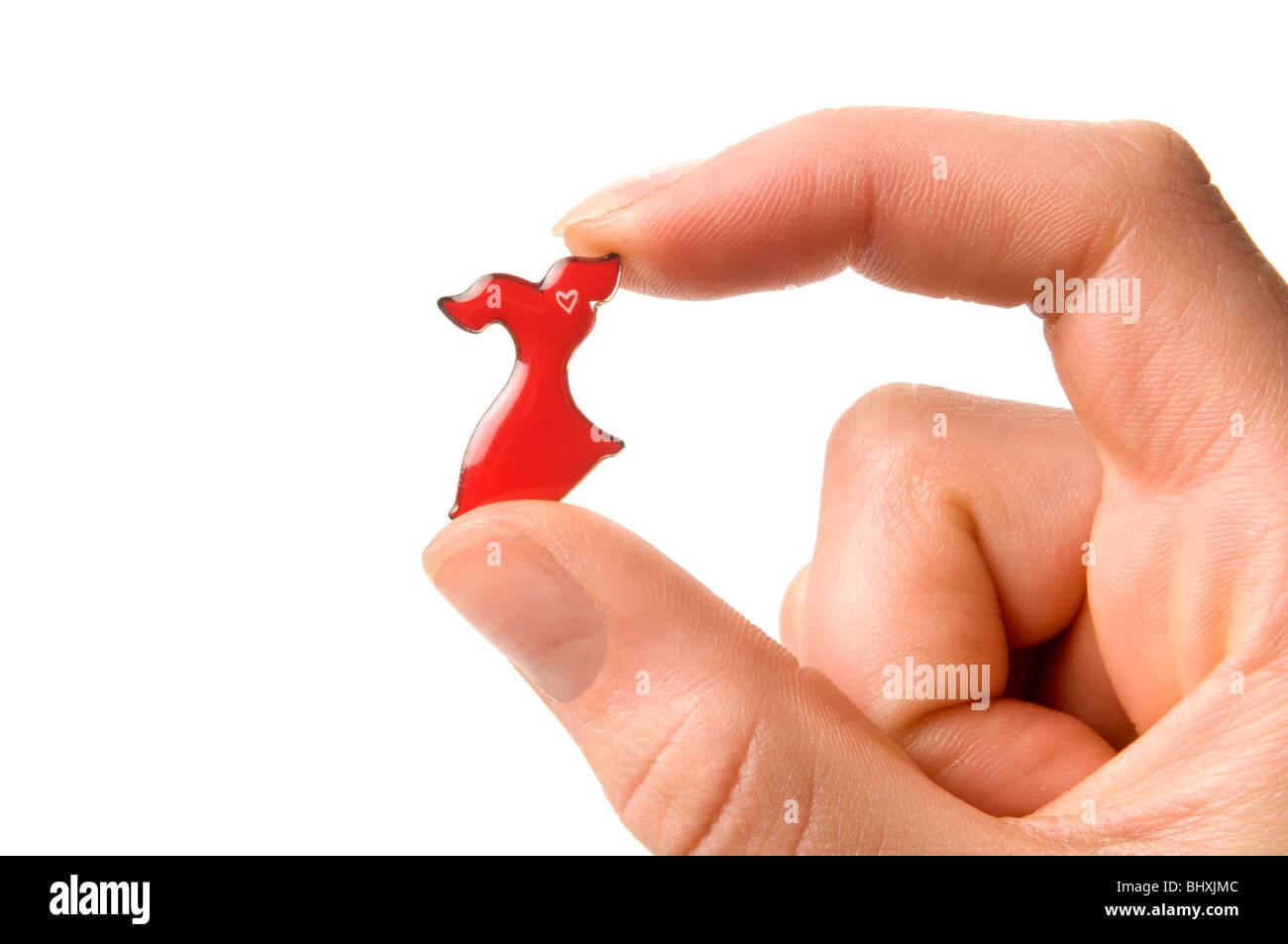 Main tenant les maladies du coeur rouge pin 'Rendez-vous à cause des femmes initiative' Photo Stock