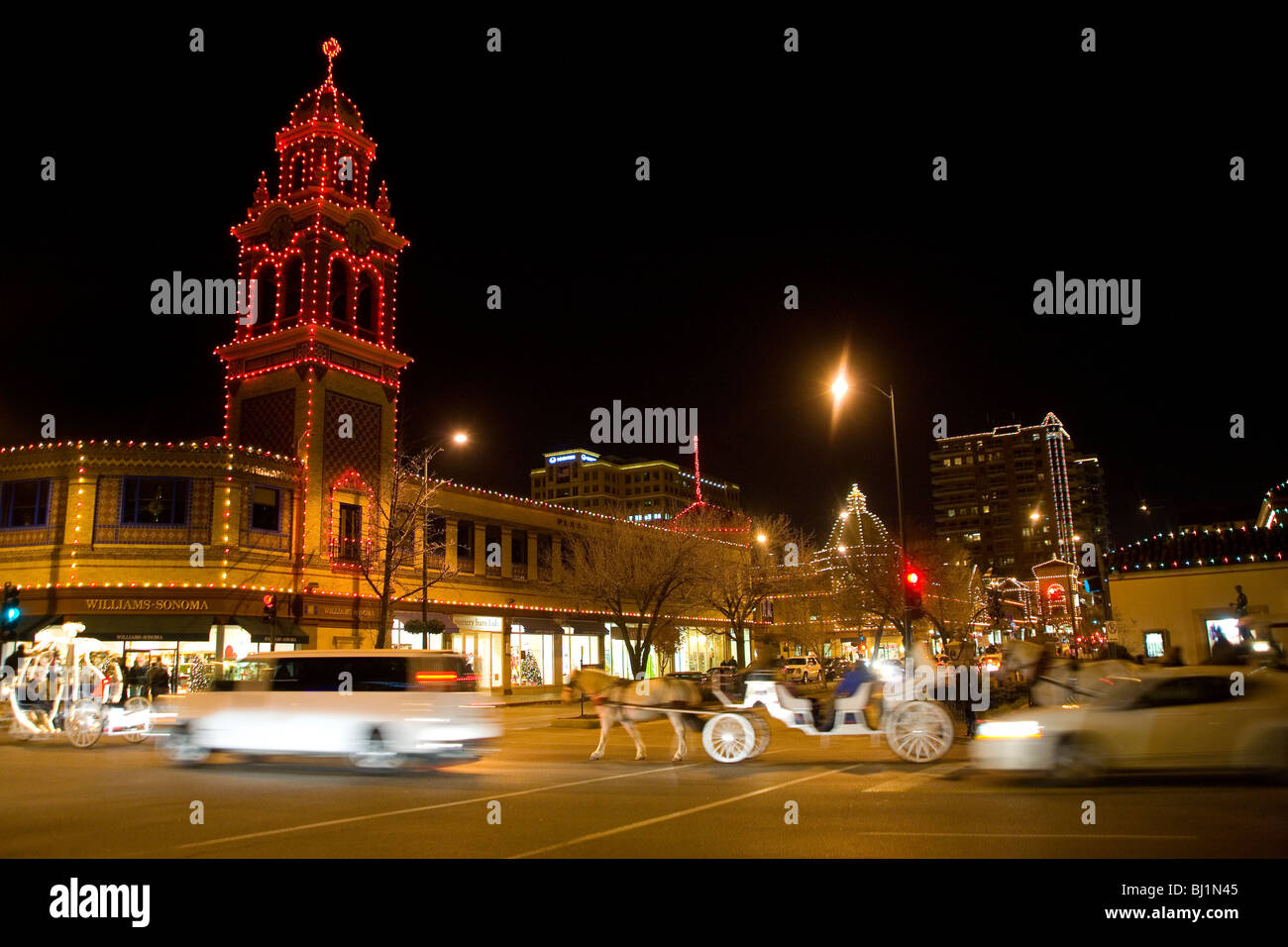 Lumières de Noël Country Club Plaza de Kansas City, Missouri Photo Stock
