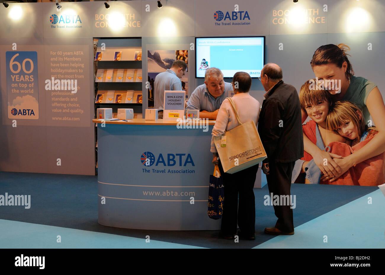 L'ABTA Travel Association stand au parc des expositions NEC Birmingham England Destinations Banque D'Images