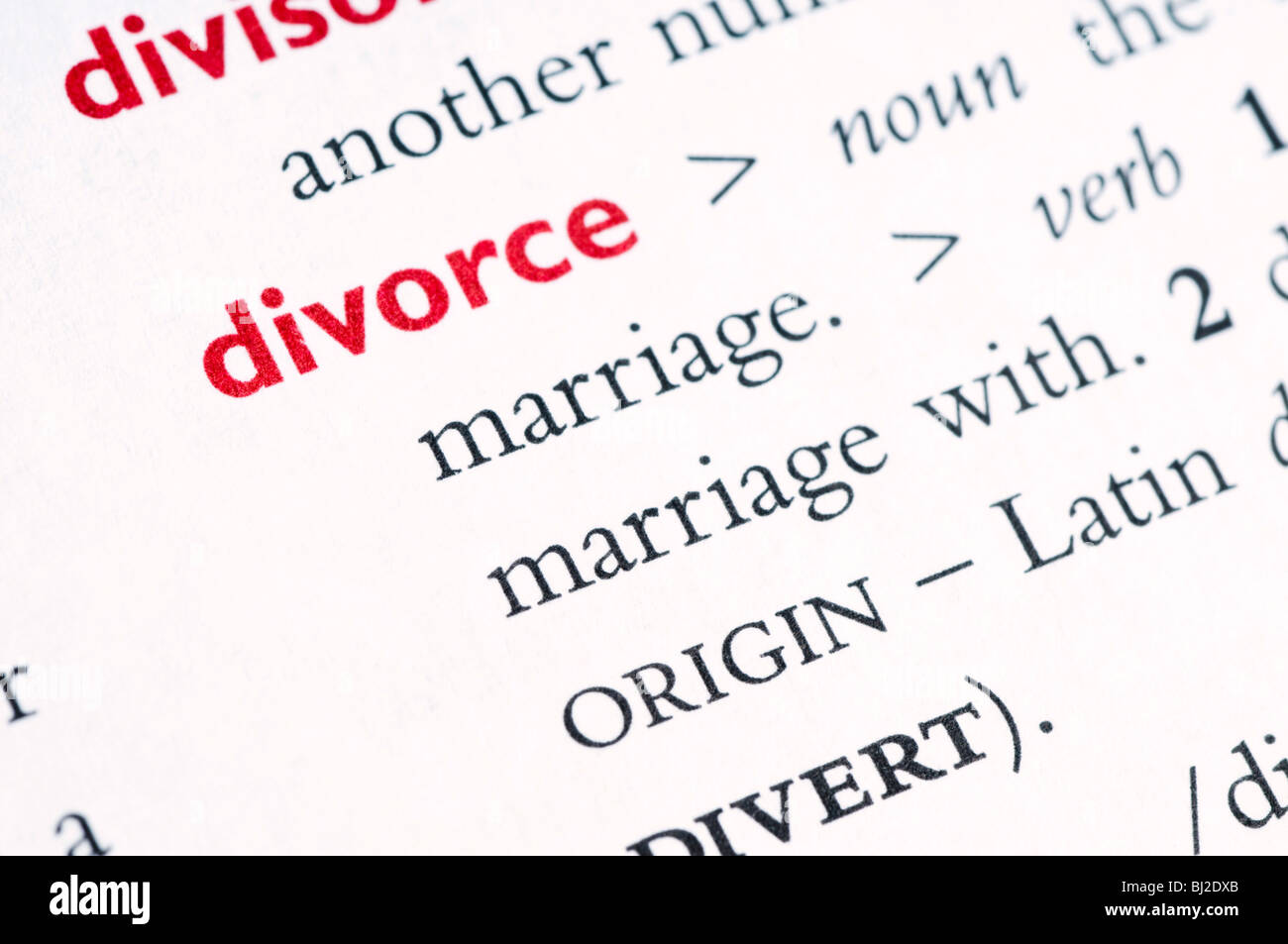 Définition du dictionnaire de divorce Photo Stock