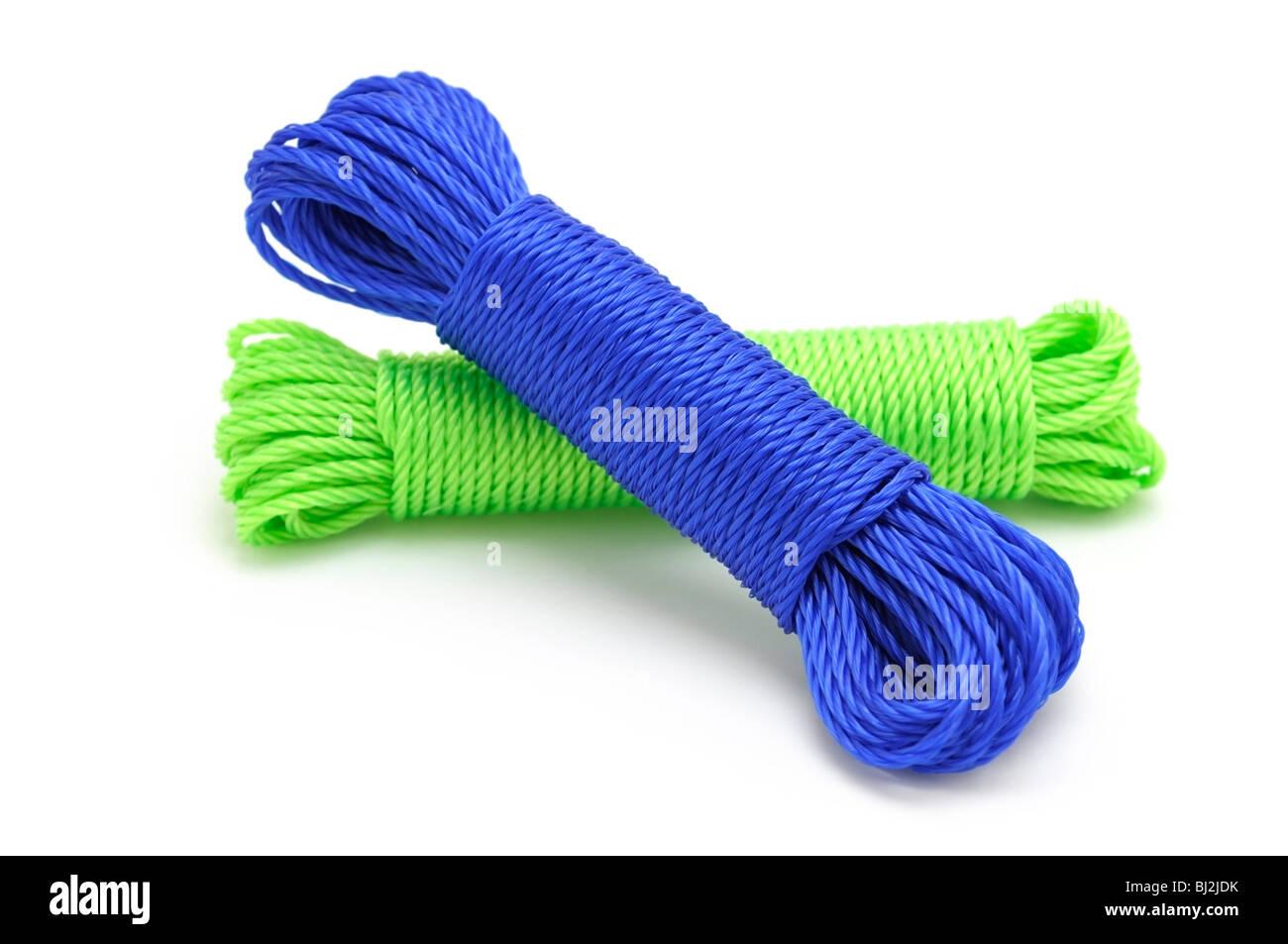 Livré corde en nylon, d'être utilisé comme une corde à linge. Photo Stock