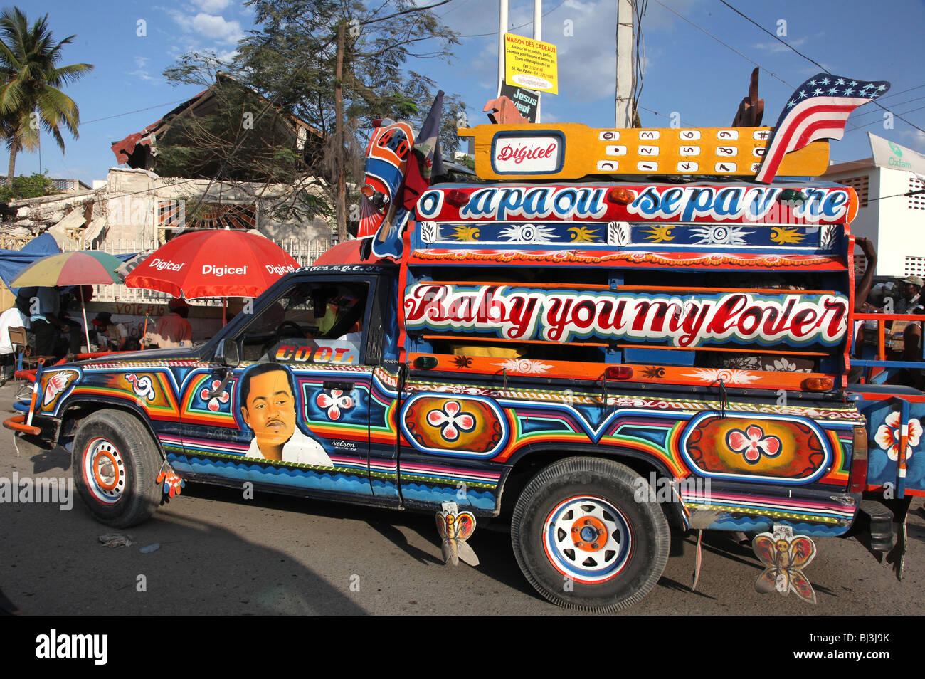 Appuyez sur appuyez taxi, Port au Prince, Haïti Photo Stock