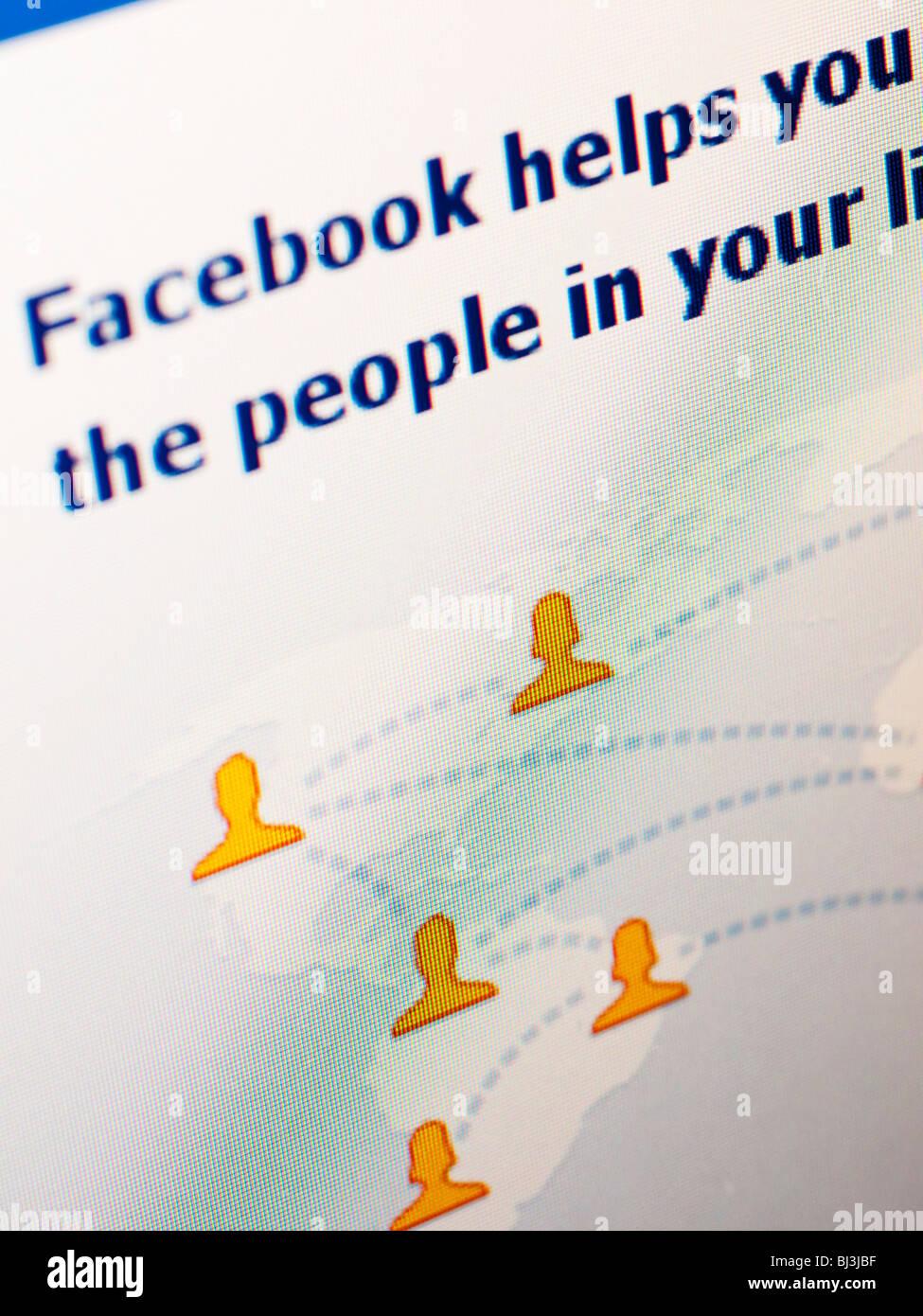 Réseau social Facebook Site internet homepage close-up Photo Stock