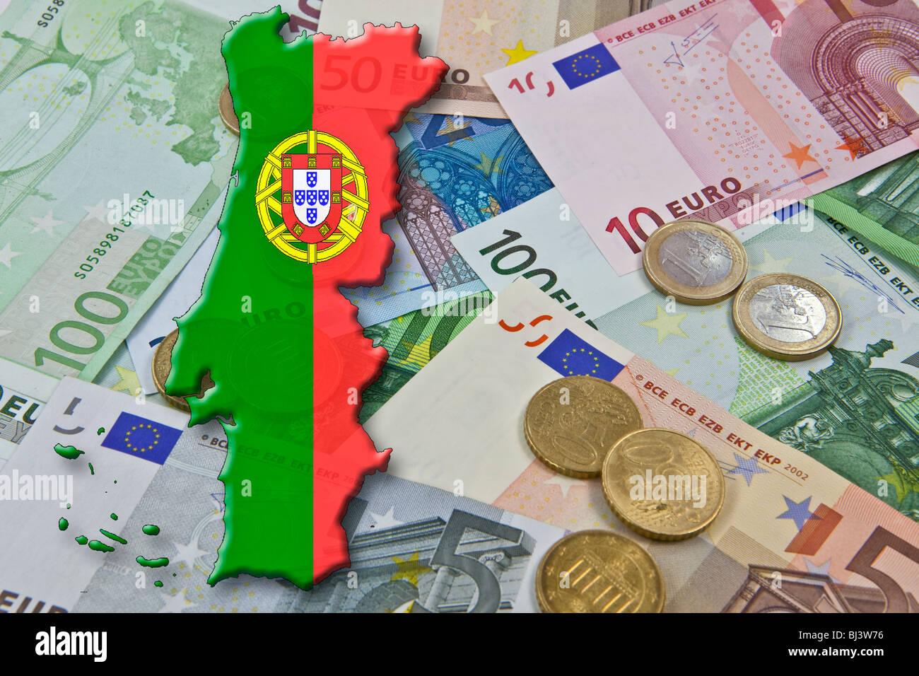 """Le Portugal, l'euro et pacte de stabilité de l'euro, le Portugal comme un """"déficit d'euros pécheur' Banque D'Images"""