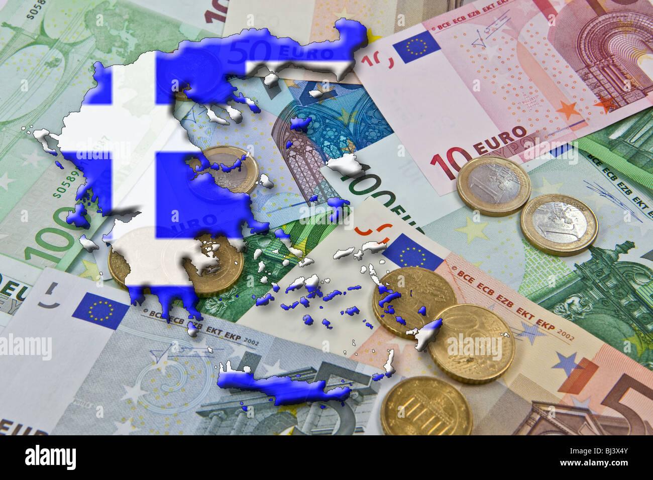 """Euro et pacte de stabilité de l'euro, la Grèce, la Grèce comme un """"déficit d'euros pécheur' Banque D'Images"""