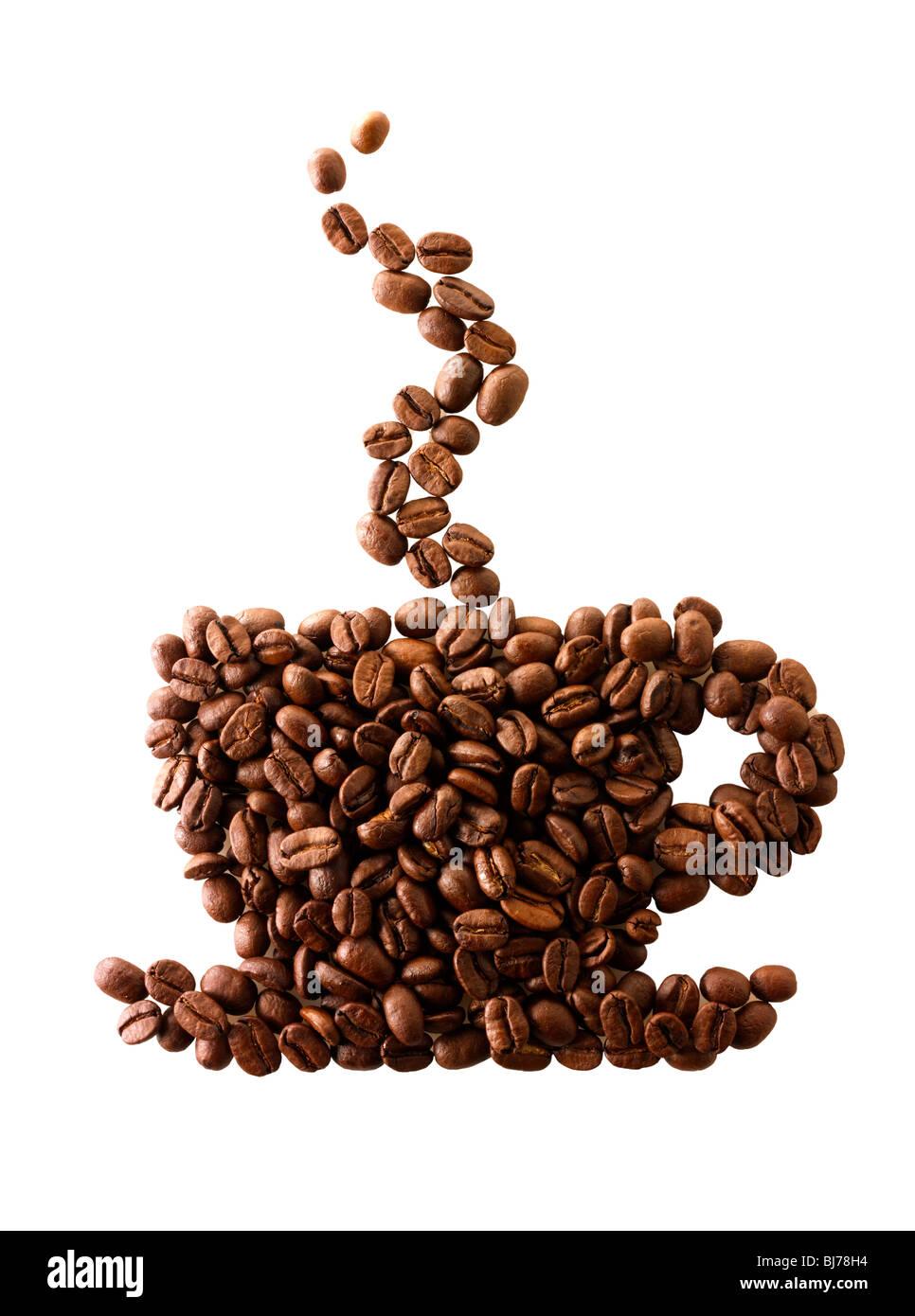 Grains de café dans la forme d'une tasse de café. Stock Photo Photo Stock