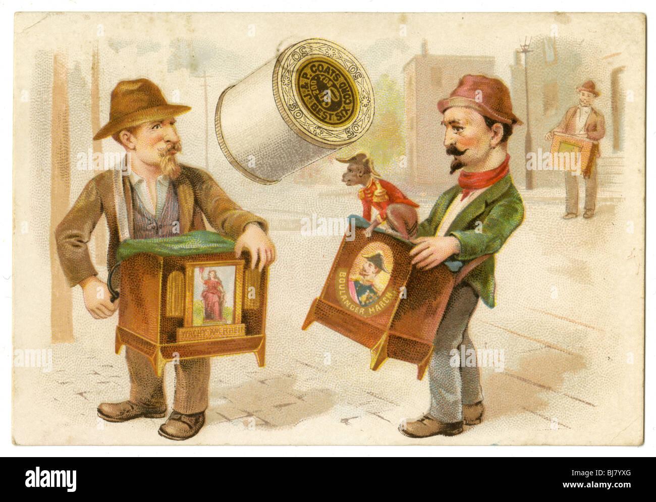 Vers 1890 Victorian trade card pour J&P Coats thread. Broyeurs d'organes avec le singe. Photo Stock