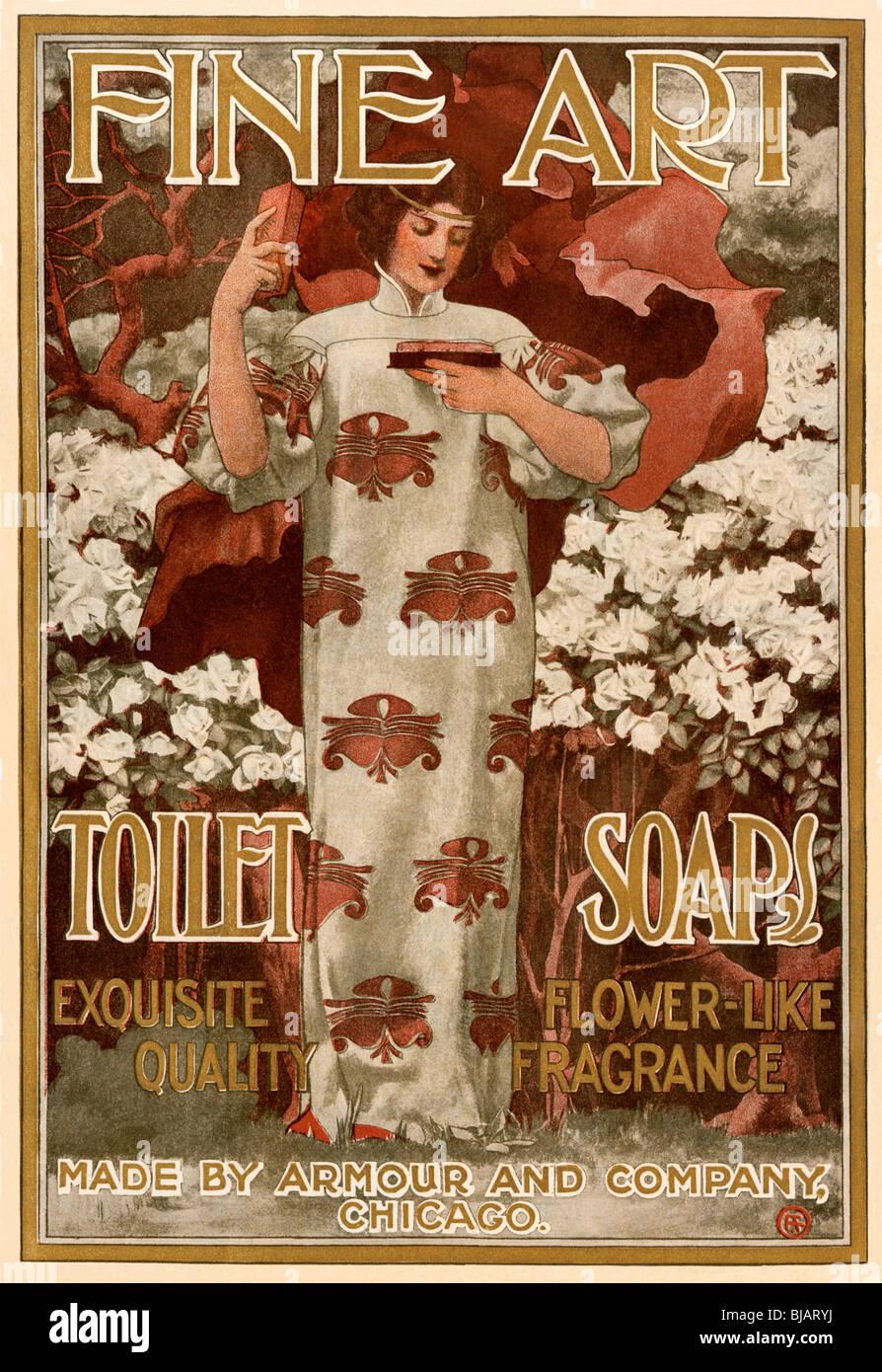 Annonce des beaux-arts de savon de toilette, 1901. Lithographie couleur Photo Stock