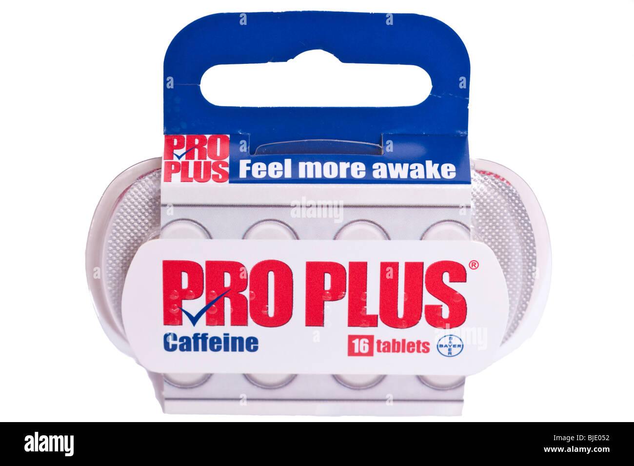 Un paquet de pro plus caféine pour rester éveillés sur fond blanc Photo Stock