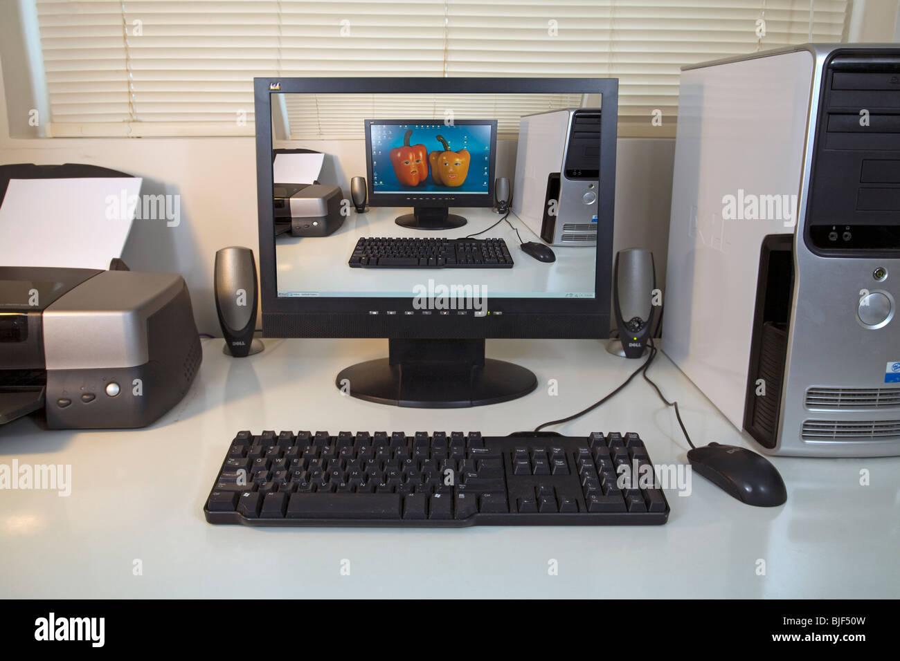 Ordinateur de bureau moniteur écran économiseur d'écran Photo Stock
