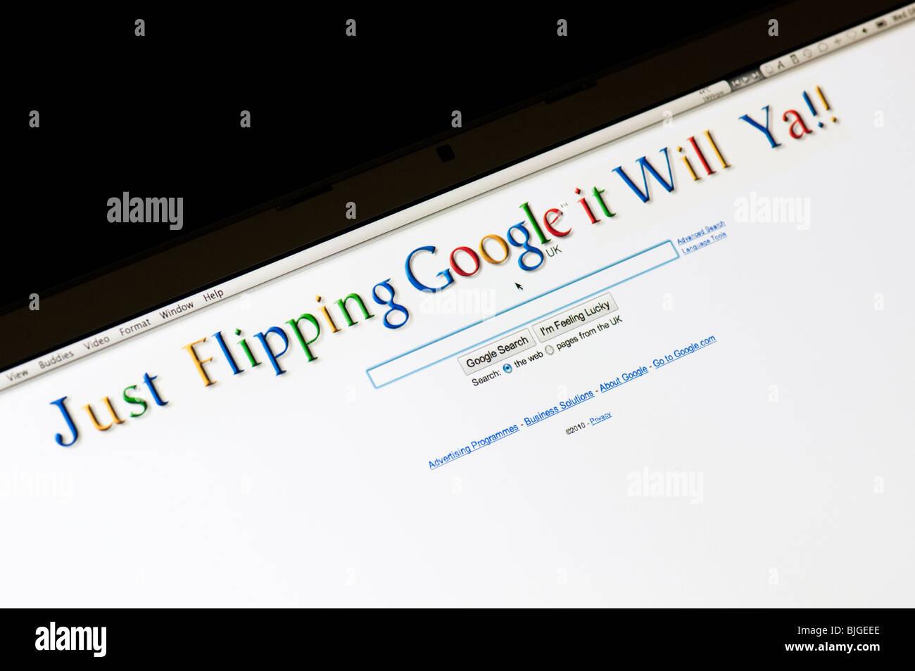 Seulement il ya google l'inversion. Page d'accueil modifié numériquement Google Photo Stock