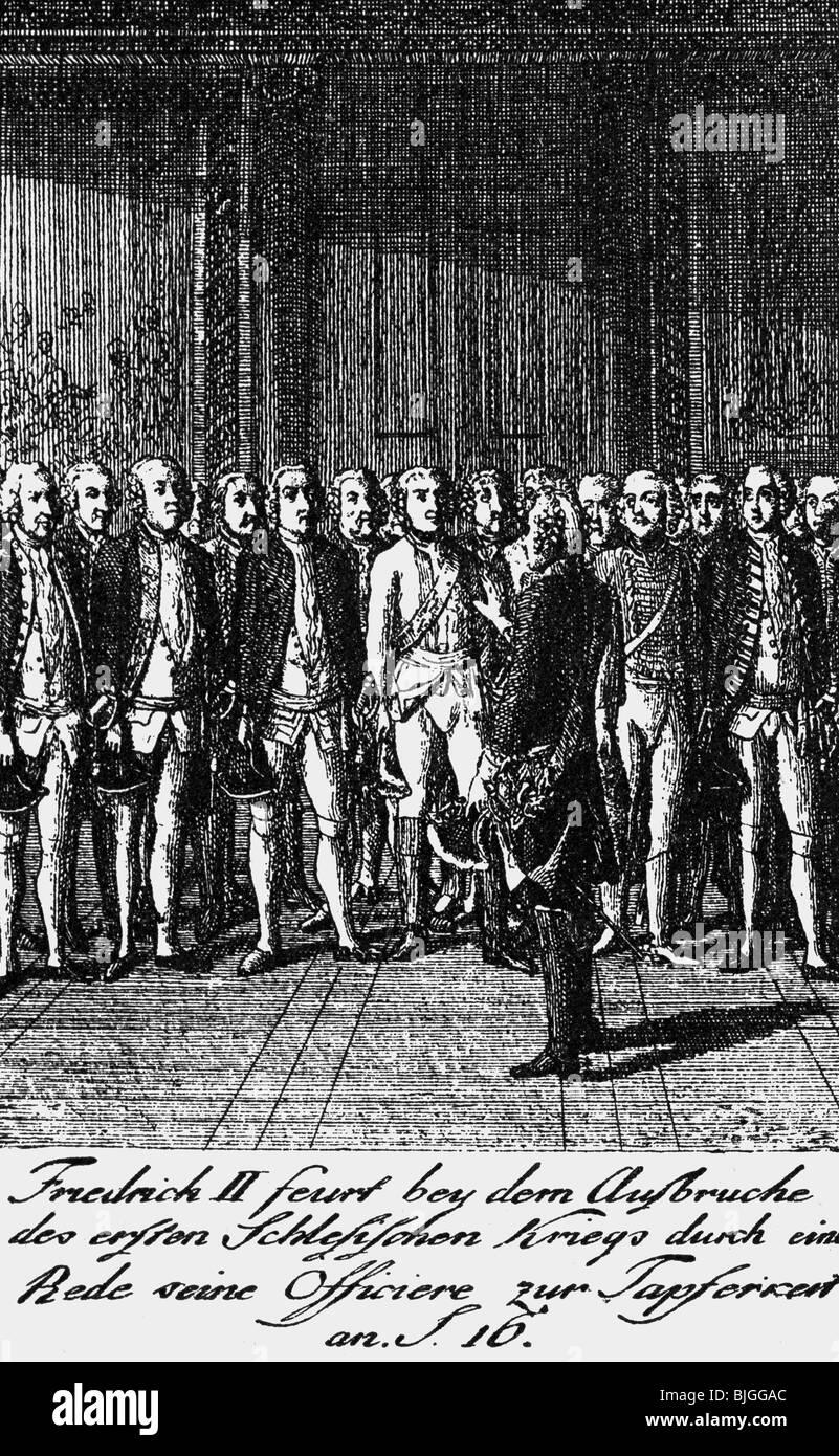 Frederick II les 'grandes', 24.1.1712 - 17.6.1786, le roi de Prusse 31.5.1740 - 17.6.1786, parlant à Photo Stock