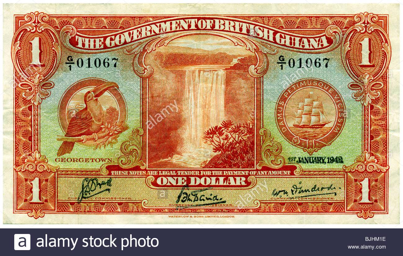 Gouvernement de la Guyane britannique Africa 1942 One Dollar Bill Georgetown Toucan Cascade filigrane Photo Stock