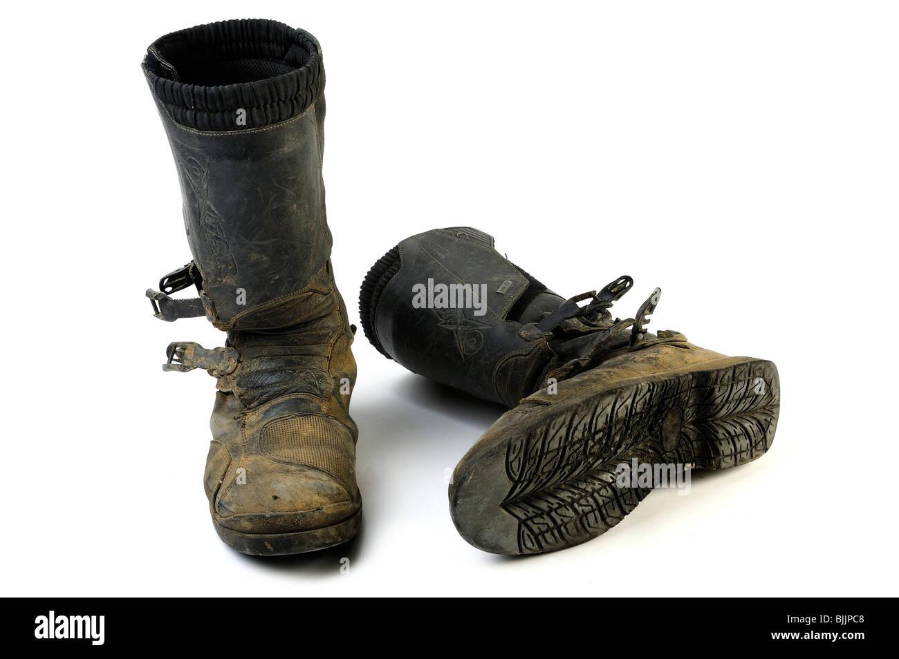 Ensemble bien usé de bottes de moto Photo Stock