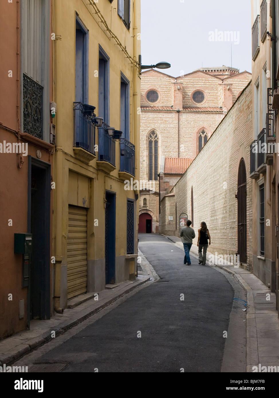 Street view en perpignan visa pour l'image Photo Stock